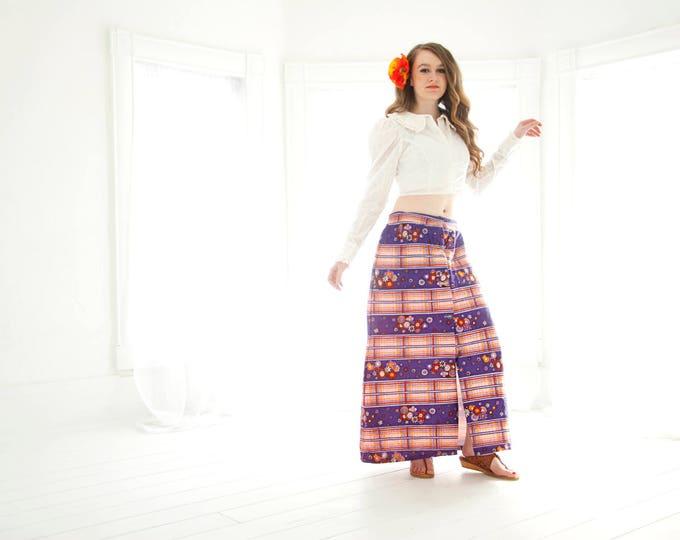 Vintage purple maxi skirt, stripes plaid floral poppy boho A-line 1960s 1970s quilted S M petite SALE