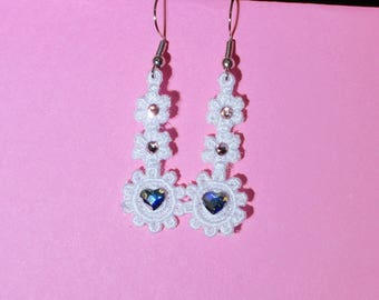 Lace Heart and Flower Earrings with Swarovski Crystals (1) - Free Shipping!
