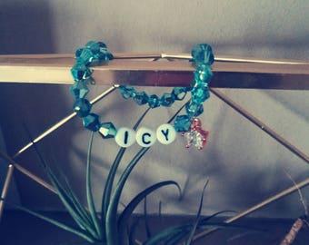 ice bracelet, icy bracelet, winter bracelet, star bracelet, star jewelry, christmas gift, holiday gift, snow gift, secret santa, word gift