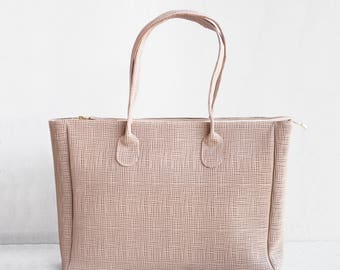 Leather Shopper in Tan /Leather Tote / Shoulder Bag / Tan Leather Bag / Leather Bag  / Leather Handbag / Summer Tote / Printed Tote Bag