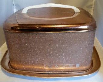Lincoln Beauty Ware Pink Copper Speckled Vintage Cake Carrier, Cover,Keeper