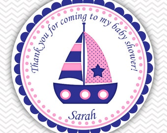 Nautical Blue Pink- Personalized Stickers Baby Shower Birthday , Party Favor Tags, Thank You Tags, Gift Tags, Address labels, Baby Shower