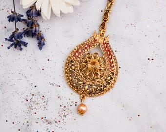 Antique Maang Tikka - Indian Jewellery - Bridal Hair Accessories - Vintage Style
