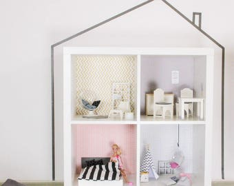 Wall decal Lille Stuba for dollhouse IKEA Kallax shelf pink/grey (1W-SH04-03) - DIY Doll's house - Furniture not included