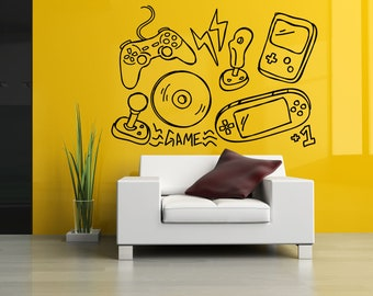 Gamer Video Game Vinyl Sticker Over Controller Joystick Gaming Console Computer PC Mouse Keyboard Arcade Shooter Decal Wall Decor ZX584
