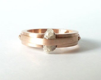 """14k gold and rough diamond ring, """"Less is More"""""""
