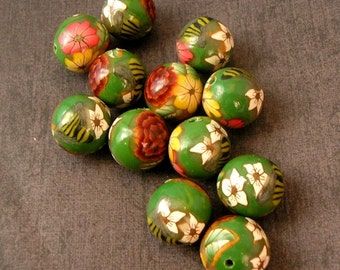 Polymer Clay Beads, Round Beads, Forest Flowers Green Bead Dozen, 12 Pieces - Made to Order