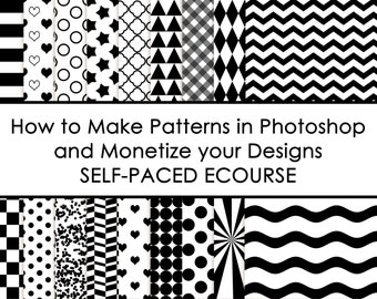 ECOURSE - How to make patterns in photoshop and monetize your designs AllAboutTheHouse chevron polka dot stripe how to make paper overlays