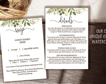 Greenery wedding enclosure card, small printable RSVP and information card templates / pretty modern font