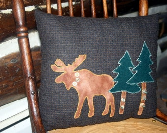 Moose Pillow Lodge Decor Upcycled Wool Moose Pine Trees Decorative Accent