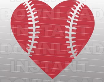 Baseball Heart SVG File Cutting Template-Clip Art for Commercial and Personal Use - Vector Art file for Cricut, SCAL, Cameo, Sizzix, vinyl