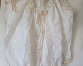 Authentic Victorian or Edwardian hand stitched corset cover or camisole, all cotton with delicate lace and ribbon details