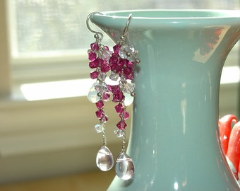 Sexy Swarovski Crystal Earrings / Long Earrings /  Pink Crystals / Sterling Silver / Handmade / One of a Kind / Wire-wrapped / Wire Wrapped