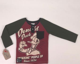 Size 5t - Upcycled Long Sleeve Henley with Pocket - Donald Duck