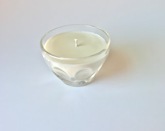 Unscented soy candle / all natural soy candle / dye free / fragrance free / repurposed glass / eco-friendly candle / upcycled glass