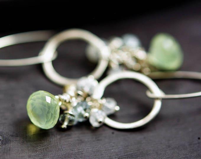 Prehnite Moonstone Gemstone Earrings, Silver Hoop Earrings, Crystal Earrings,