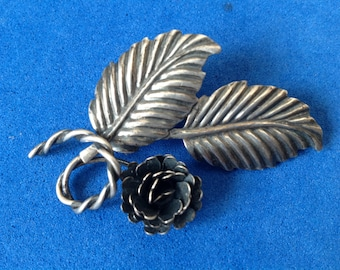 Vintage! Vintage antique sterling silver blooming rose pin - light weight