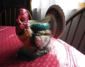 Vintage Japan Parma By AAI Ceramic Turkey Colorful Holiday Thanksgiving 1950s to 1960s Numbered Planter Decor