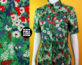 Vintage 70s Green, Red, White Floral Hippie Short Sleeve Shirt
