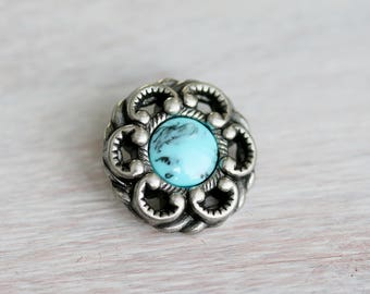 Antique Silver With Blue Marble Button Clasp