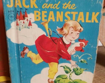 """Rand McNally Junior Elf """"Jack and the Beanstalk""""/Vintage 1951/Nursery/Baby Shower Decor/Nursery Rhymes/Fairy Tales/Classic Fables/Upcycle"""