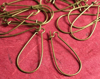 18g thick antique brass kidney earwire 35x18mm (large) size, 30 pcs (item ID YWABHB00783)
