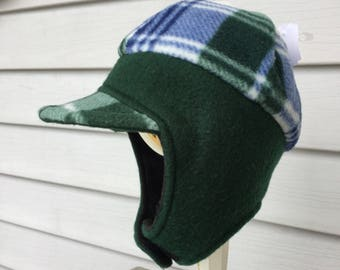 Boys green plaid hat
