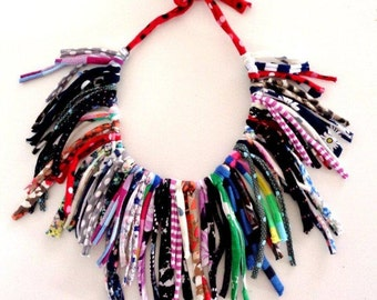 Crazy Funky Fun Necklace Statement Necklace Fringe Necklace Scarf Necklace Summer Necklace Gypsy Necklace Boho Fringe Ethnic Necklace