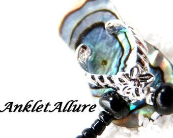 ABALONE Beach Ankle Bracelet SHELL Flip Flops Anklets for Women GUARANTEED Black