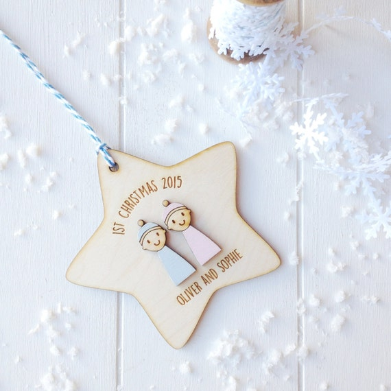 Baby twins first Christmas - Personalised twins keepsake decoration - Baby's first Christmas