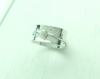 Spinning Meditation Ring with Hand Stamped Flowers - Wide Sterling Silver Band with Spinner - Anxiety Spin Ring - Stress Relief Gift for Her