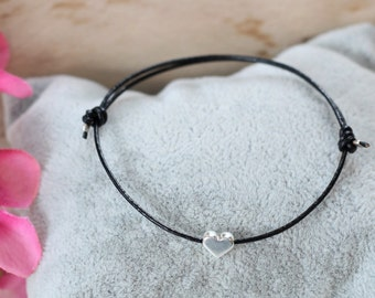 Lederamband 1 mm with heart silver filigree friendship bracelet bracelet bracelet Heart bracelet jewellery leather modern, bracelet with heart classy