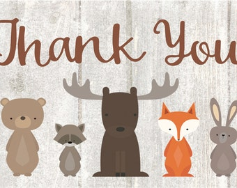 Baby Shower Thank You Cards, Woodland Animal Whitewash Thank You