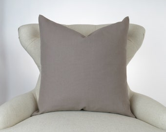 Throw Pillow Cover, Decorative Cushion, Euro Sham, Accent Pillow, Plain Pillow, Solid Color, -MANY SIZES- Dyed Taupe, Kelp, Premier Prints