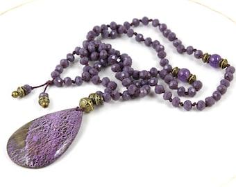 Stichtite Pendant, Mala Necklace, Purple Mala, Mala Beads, Prayer Beads, Mala, Purple Necklace, Mala 108, Yoga, Knotted Mala, Yoga Jewelry