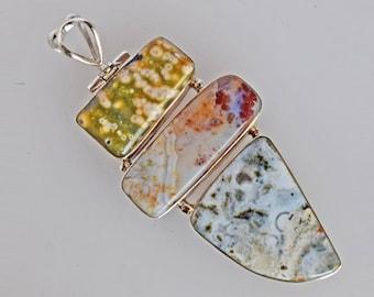 Natural Ocean Jasper Gemstone Pendant, Real 925 Solid Sterling Silver Jewelry, Handmade, Women's Jewellery Suppliers, Gift For Wife FSJ-1864