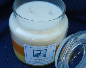 Candy Corn Scented Soy Candle 20 oz Apothecary Jar Tricolor