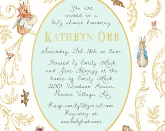 Beatrix Potter Baby Shower Invitations, Peter Rabbit Themed Baby Shower Invitations Printed w/ Envelopes, Storybook Baby Shower Invites