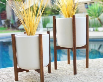 2 Mid Century Planters with Stands Staggered Pair Ceramic & Quad Bases - Modern Eames Era Bullet Vintage Style Pottery Walnut with Pot