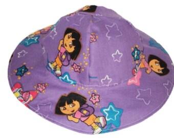 Girls Sun Hat, Dora Hat, Toddler Sun Hat, Cotton Summer Hat, Purple Hat, Floppy Beach Hat, Birthday Gift, Girls Clothes