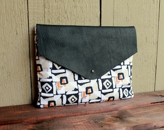 Leather ipad sleeve, tablet sleeve, leather envelope clutch, geometric clutch, black clutch purse, leather clutch, ipad cover