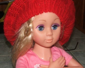 Beret made of acrylic yarn - one size - red - handmade