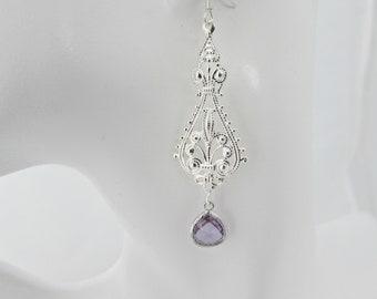 Amethyst Jewel Earrings, Chandelier Jewel Earrings, Long Earrings, Moroccan Earrings, UK Seller, Boho Jewellery, February Birthstone