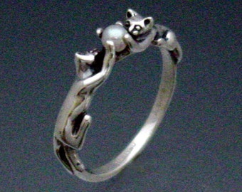 Two Cats Ring with Pearl in Sterling Silver Size 3 to 8 3/4