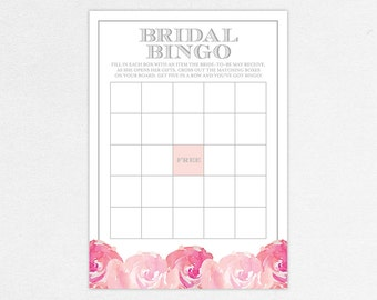 INSTANT DOWNLOAD Bingo Game Card Card for Bridal Shower (Haley) - DIY, Printable, Customizable Watercolor Flowers Design