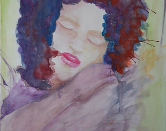 Mujeres # 3   Giclee print of original watercolor Abstract Painting