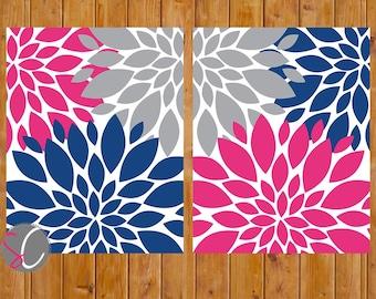 Pink Navy Nursery Flower Art Gray Navy Blue Baby Nursery Bedroom Bathroom Decor Set of 2 - 11x14 JPG Files Printable Instant Download (167)