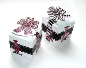 Chocolate favor box, bow, black, white, rose, cube, DIY printable, give-away, candy box, packaging, 2.pdf, digital files, gift box templates
