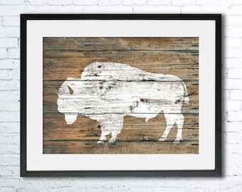 Bison 4 art illustration print, Bison painting, Bison wood, Wall art, Rustic Wood art, Animal print, Animal silhouette, Bison silhouette