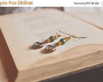 30% OFF SALE Romantic gilded heart, teal green, and mustard yellow bead drop earrings, Late Sunshine
